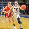 Hannah Morse drives to the basket for Watkins Glen.