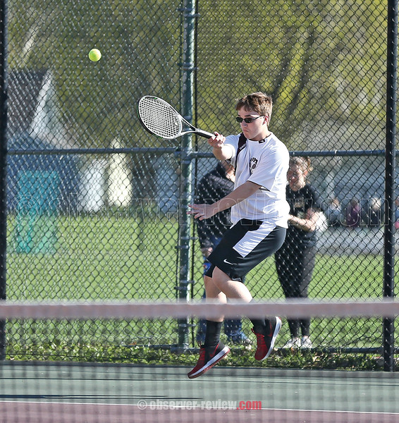 Dylan Von Neida competes for Odessa-Montour in a singles match Wednesday, April 24.