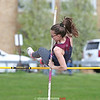 Jena Slater propels herself over the bar in the pole vault at Dundee, Friday, May 10.