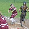 Alyssah Newell makes an out covering first base, Wednesday, May 15.