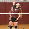 Hayley Herrick helps the ball clear the net last Wednesday.