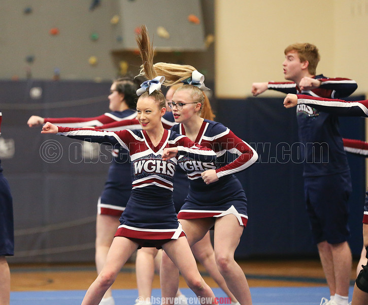 The Watkins Glen varsity cheerleading squad competed at the Penn Yan Winter Cheer Explosion Saturday, Jan. 11. The team placed third in the Co-Ed division.