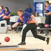 Cameron Bassage bowls for Penn Yan in the match Thursday, Jan. 16.