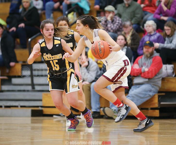 Mackenzie Strait moves up court for the Lady Scots against South Seneca.