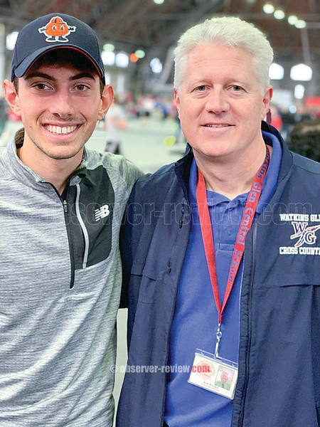 Watkins Glen runner Gabe Planty will advance to the state final with his first place finish last weekend. He is pictured with coach Rod Weeden.