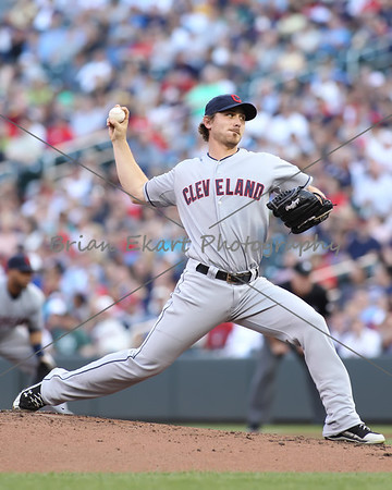 Cleveland Indians pitcher Josh Tomlin (43) pitching during the first inning at the Minnesota Twins game versus the Cleveland Indians at Target Field in Minneapolis, MN.