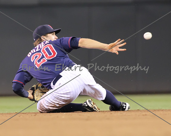 Minnesota Twins infielder Brian Dozier (20) with a back handed flip to second base for the final out of the inning on July 27, 2012:  during the Minnesota Twins game versus the Cleveland Indians at Target Field in Minneapolis, MN.  Minnesota Twins 11 and Cleveland Indians 0.