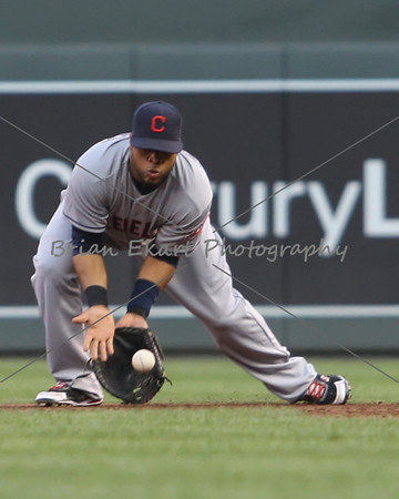 Cleveland Indians infielder Jason Kipnis (22) fielding a ball during the game on July 27, 2012:  during the Minnesota Twins game versus the Cleveland Indians at Target Field in Minneapolis, MN.