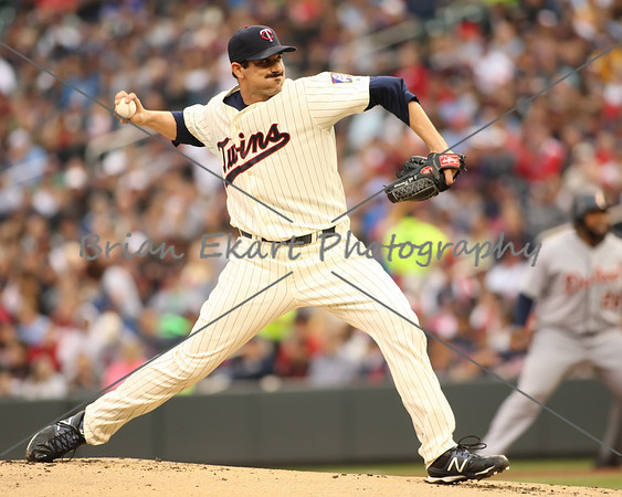 Minnesota Twins pitcher Carl Pavano (48) pitching during the game on May 26, 2012:  at the Minnesota Twins game versus the Detroit Tigers at Target Field in Minneapolis, MN.