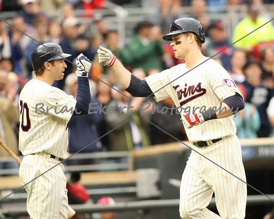 Minnesota Twins infielder Justin Morneau (33) after hitting a home run during the game on May 26, 2012:  at the Minnesota Twins game versus the Detroit Tigers at Target Field in Minneapolis, MN.