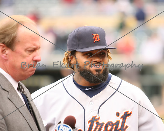 Detroit Tigers infielder Prince Fielder (28) being interviewed after Detroit wins the game on May 26, 2012:  during the Minnesota Twins game versus the Detroit Tigers at Target Field in Minneapolis, MN.  Detroit 6 and Minnesota 3.