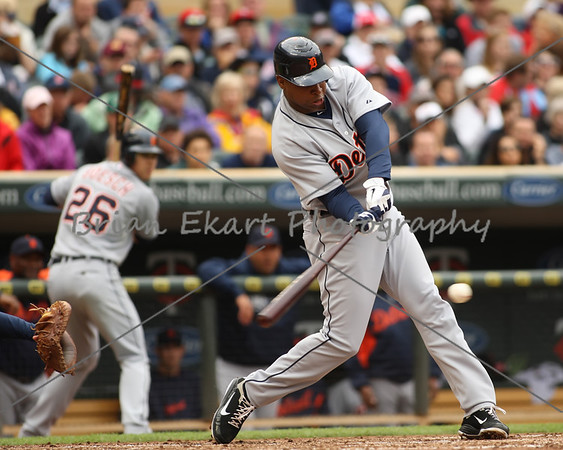 Detroit Tigers outfielder Delmon Young (21) gets a hit during the game on May 26, 2012:  at  the Minnesota Twins game versus the Detroit Tigers at Target Field in Minneapolis, MN.