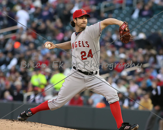 Los Angeles Angels pitcher  Dan Haren (24) pitching during the game on May 8, 2012:  at the Minnesota Twins game versus the Los Angeles Angels of Anaheim at Target Field in Minneapolis, MN.