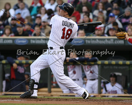 Minnesota Twins catcher Ryan Doumit (18) with a two run home run in the first inning on May 8, 2012:  during the Minnesota Twins game versus the Los Angeles Angels of Anaheim at Target Field in Minneapolis, MN.