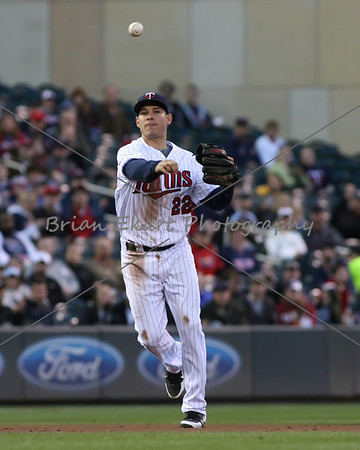 Minnesota Twins infielder Danny Valencia (22) makes a throw to first during the game on May 8, 2012:  at the Minnesota Twins game versus the Los Angeles Angels of Anaheim at Target Field in Minneapolis, MN.