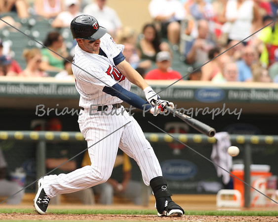Minnesota Twins outfielder Trevor Plouffe (24) at bat during the game on July 15, 2012:  during the Minnesota Twins game versus the Oakland Athletics at Target Field in Minneapolis, MN.