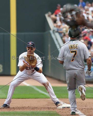Oakland Athletics infielder Brandon Inge (7) is thrown out at first during the game on July 15, 2012:  during the Minnesota Twins game versus the Oakland Athletics at Target Field in Minneapolis, MN.