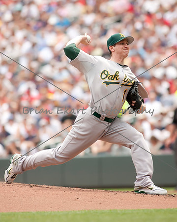 Oakland Athletics pitcher Jarrod Parker (11) pitching during the game on July 15, 2012:  during the Minnesota Twins game versus the Oakland Athletics at Target Field in Minneapolis, MN.