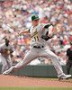 Oakland Athletics pitcher Jarrod Parker (11) pitching during the first inning on July 15, 2012:  during the Minnesota Twins game versus the Oakland Athletics at Target Field in Minneapolis, MN.