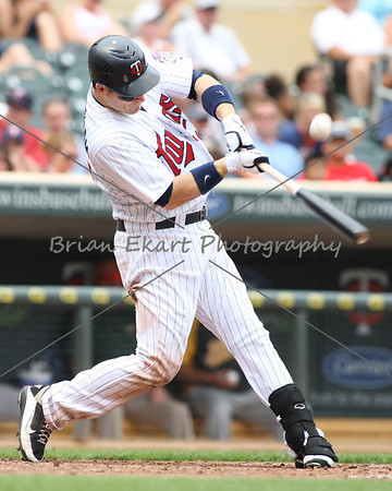 Minnesota Twins outfielder Josh Willingham (16) with hit during the game on July 15, 2012:  during the Minnesota Twins game versus the Oakland Athletics at Target Field in Minneapolis, MN.