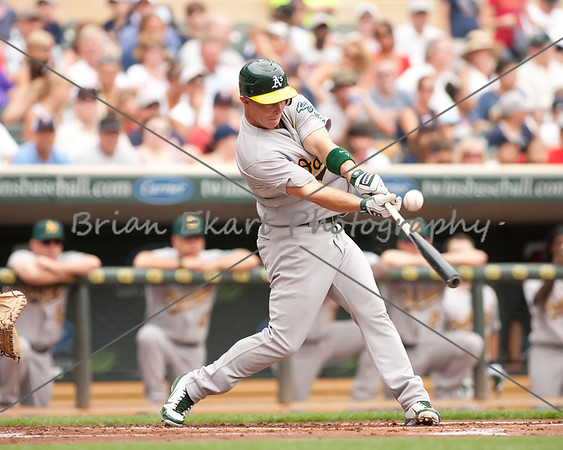 Oakland Athletics infielder Brandon Hicks (18) at bat during the game on July 15, 2012:  during the Minnesota Twins game versus the Oakland Athletics at Target Field in Minneapolis, MN.