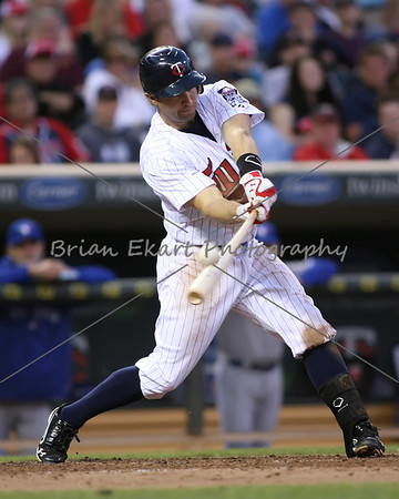 Minnesota Twins infielder Brian Dozier (20) fouls a ball during the game on May 12, 2012:  at the Minnesota Twins game versus the Toronto Blue Jays at Target Field in Minneapolis, MN.