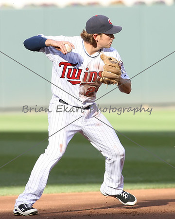 Minnesota Twins infielder Trevor Plouffe (24) during the first inning at the start of a double play on May 12, 2012:  at the Minnesota Twins game versus the Toronto Blue Jays at Target Field in Minneapolis, MN.