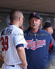 Pitching coach Rick Anderson talking to Minnesota Twins pitcher P.J. Walters (39) between innings on May 12, 2012:  at the Minnesota Twins game versus the Toronto Blue Jays at Target Field in Minneapolis, MN.