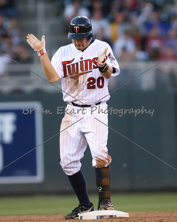 Minnesota Twins infielder Brian Dozier (20) celebrates after hitting a double on May 12, 2012:  at the Minnesota Twins game versus the Toronto Blue Jays at Target Field in Minneapolis, MN.
