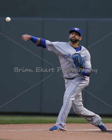 Toronto Blue Jays outfielder Jose Bautista (19) makes a throw to second during the game on May 12, 2012:  at the Minnesota Twins game versus the Toronto Blue Jays at Target Field in Minneapolis, MN.