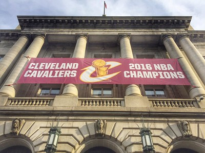 A banner flies on Cleveland City Hall. BRUCE BISHOP/CHRONICLE
