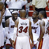 Miami Heat small forward LeBron James (6) speaks to teammates during the first half of Game 6 of the NBA Finals basketball game against the San Antonio Spurs, Tuesday, June 18, 2013 in Miami. (AP Photo/Wilfredo Lee)