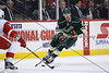 Minnesota Wild forward Devin Setoguchi (10) brings the puck up the ice during period two.  On February 17 at the Minnesota Wild game versus Detroit Red Wings at the Excel Energy Center in Saint Paul, MN.
