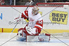 Detroit Red Wings goalie Petr Mrazek (34) makes a pad sa e during the first period.  On February 17 at the Minnesota Wild game versus Detroit Red Wings at the Excel Energy Center in Saint Paul, MN.