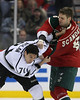 Minnesota Wild defensemen Marco Scandella (6) throws a punch that connects to LA Kings forward Jordan Nolan (71) head during period three at the Excel Energy Center in Saint Paul, MN. LA Kings 4 and Minnesota Wild 0.