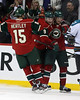 Minnesota Wild center Mikko Koivu (9) and Minnesota Wild forward Nick Johnson (25) and Minnesota Wild forward Dany Heatley (15) celebrate after Nick Johnson scored in period three at the Excel Energy Center in Saint Paul, MN. Minnesota Wild 3 and San Jose Sharks 2.