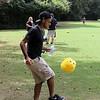 "Jose juggles ""Fuzzy"" soccer ball"