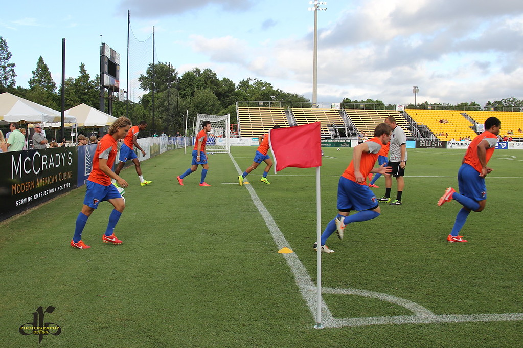 Charlotte Eagles warmup before the match
