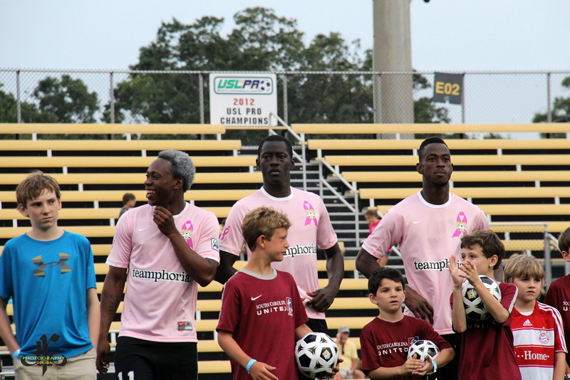 Quinton Griffith, Mamadou Diouf, and Amadou Sanyang during introductions