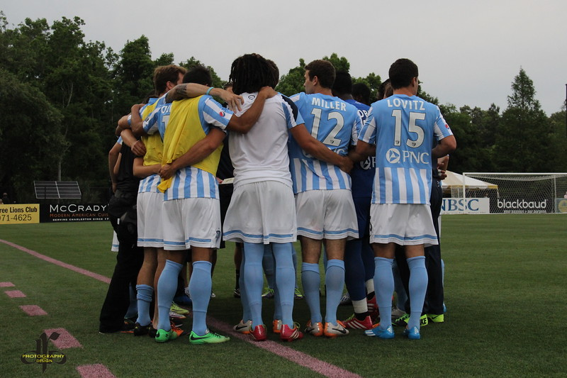 Wilmington Hammerheads team pre-game huddle