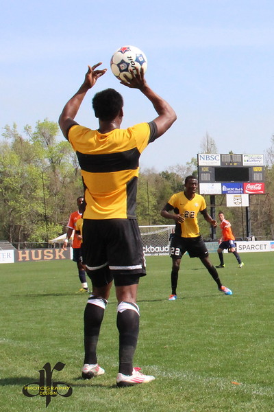 Quinton Griffith takes a throw-in