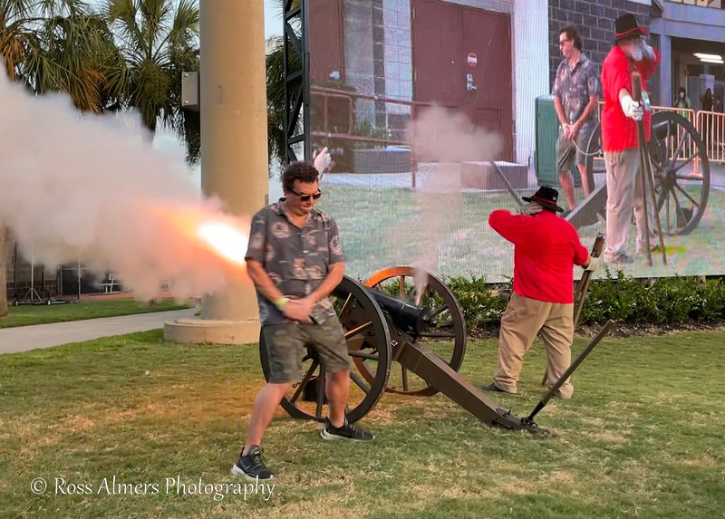 Actor Danny McBride fires the cannon prior to the Charleston Battery vs Orange County SC match.