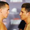 "Globe/T. Rob Brown<br /> Dillon ""White Lightning"" Cook of Seneca (left) vs. opponent in professional boxing for ESPN2."