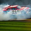 2011 Daytona 500 Winner Trevor Bayne doing a burnout after crossing the finish line.