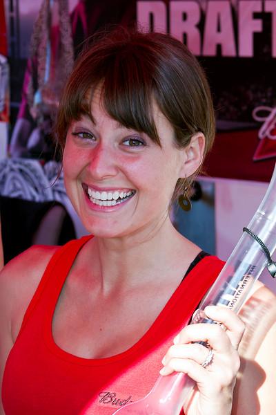 Lovely Fanzone Bud Girl at 2011 Daytona 500 serving up drinks in strange glasses