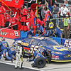 Michael Waltrip's crew fast at work changing tires on the NAPA #55 during pit stop at Talladega