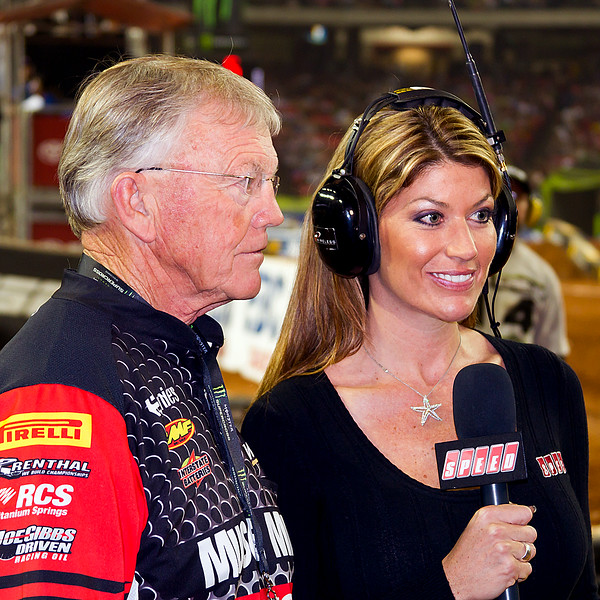 JGR's Joe Gibbs and Erin Bates at AMA Supercross Atlanta.  JGRMX Justin Brayton pulled out a 7th place finish despite injuries earlier and Davi Millsaps finished 11th.