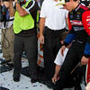 Trevor Bayne puts his foot to the cement after Daytona 500 win