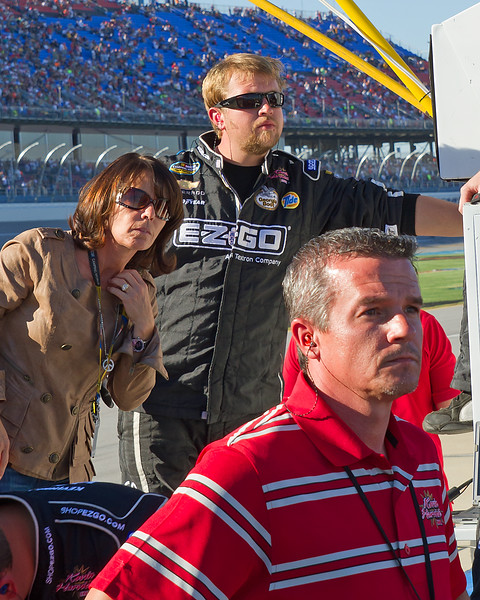 """Hornaday Team, Owner, Sponsors, Family and Fans watch as Ron fights to the front prior to the """"Big One"""" at Talladega's 2010 Mountain Dew 250."""