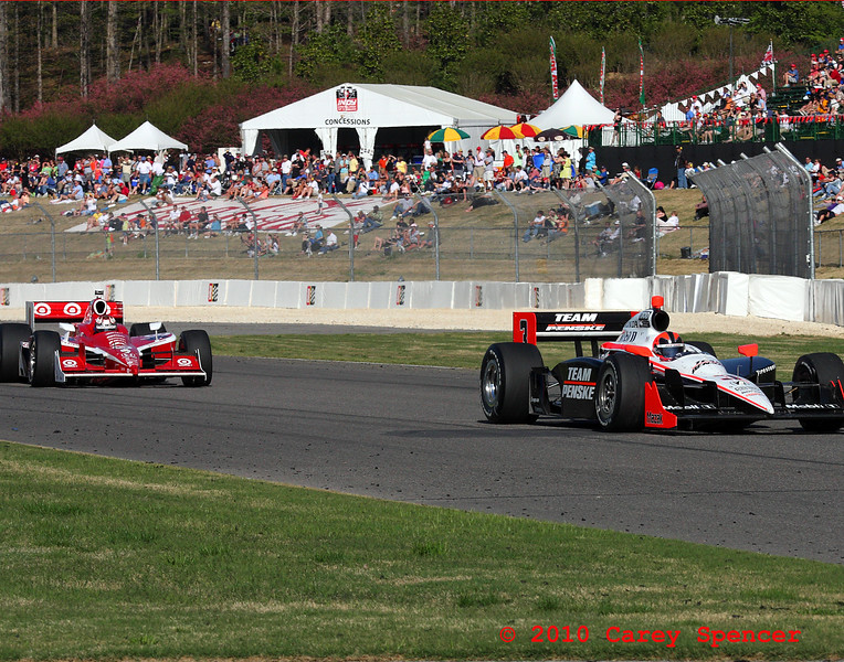 Castroneves and Dixon race for first place during final laps of Indy Grand Prix of Alabama at Barber Motorsports Park